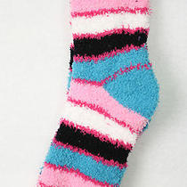 Fuzzy Slipper Crew Socks Butter Soft Aqua Pink Stripe Womens 9-11 Comfortable  Photo