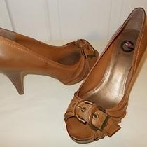G by Guess Bethanny Camel Color Leather Open Toe Platform Heels Sz 10 M  Photo
