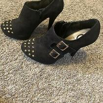 G by Guess Black Booties Size 8 M Gold Studs & Buckles Side Zipper Photo