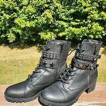 G by Guess Black Combat Motorcycle Boots Silver Accents Size 9m Photo