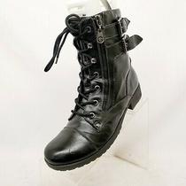 G by Guess Black Faux Leather Zip Laces Buckle Ankle Fashion Boots Bootie Sz 8 M Photo