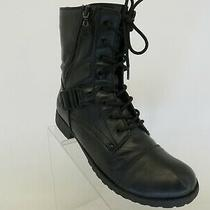 G by Guess Black Faux Leather Zip Laces Buckle High Ankle Fashion Boots Sz 8.5 M Photo