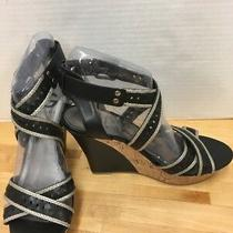 G by Guess Black Strappy Cork Heel Wedge Sandals 9m Silver Trim Photo