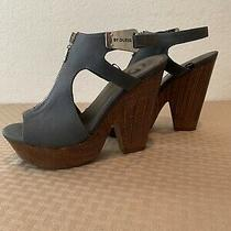 G by Guess Blue Suede Wood Wedge Sandals-8m Used Only Once-Nice Comfy Casual Photo