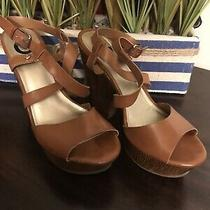 G by Guess Brown High Heel Sandals Size 9m Cuban Heel Photo