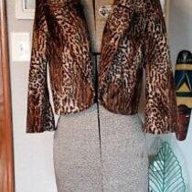 G by Guess Faux Fur Leopard Tiger Print Croped Jacket Size M  Photo