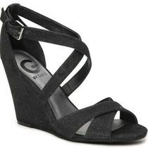 G by Guess Harpee Black Glitter Wedge Strappy Heels Women's Round Toe Sandals  6 Photo