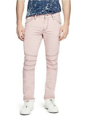 G By Guess Men's Pastel Moto Modern Skinny Stretch Jeans Light Pink Size 38 Photo