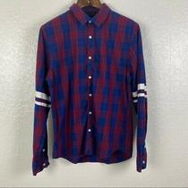 G by Guess Men's Red Blue Plaid Button Front Shirt With White Print on Back Sz L Photo