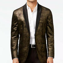 G by Guess Mens Regular Fit Gold Metallic Blazer Size S Photo
