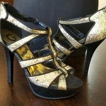 G by Guess Narlin Gold & Black Platform Sandal Stiletto Caged T-Strap 8.5 New Photo