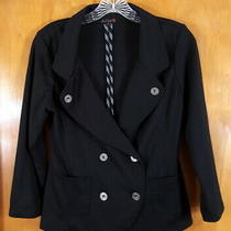 G by Guess Size M Black Double Breasted Lightweight Fitted Blazer Jacket Photo