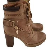 G by Guess Tan Ankle Boots Combat Lace Up Heeled Zipper Booties Size 9 M 89 Photo