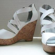 G by Guess White Criss Cross Strap Cork Wedge Zipper Heel Sandal Shoe Passage Photo