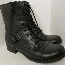 G by Guess Women's Combat Lace Up Boots Booties Moto Size 8 Side Zip Buckleread Photo