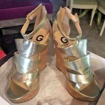 G by Guess Women Us 9.5 Metallic Platform Cork Sandal Gg Michelle W Box Ln Photo
