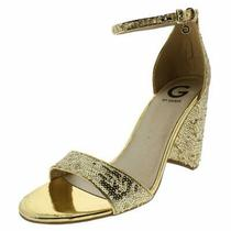 G by Guess Womens Shantel 11 Fabric Open Toe Casual Ankle Gold Multi Size 10.0 Photo