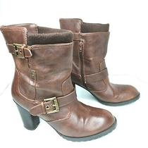 G by Guess Womens Size 9.5 Brown Faux Leather Zip Up Ankle Chunky Combat Boots  Photo