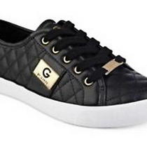 G Byguess Women Backer2 Lace Up Leather Quilted Pattern Sneakers Shoes Black 75 Photo