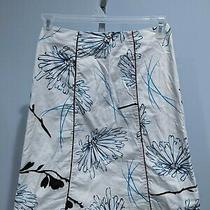 G Elements White and Blue Stretch Cotton Skirt Size 4 Photo