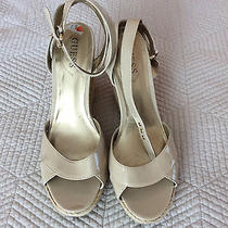 G Guess Beige Patent Espadrille Wedge High Heel Gladiator Ankle Tstrap Sz 95 Photo