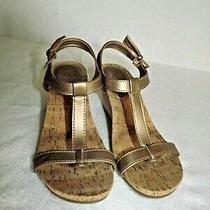 G H Bass Sunjuns Bloom Size 7.5 M Gold Bronze Wedge T Strap Sandal Cork Sole Euc Photo