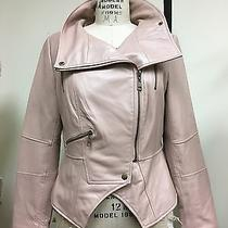 g.i.l.i. Leather Motorcycle Jacket With Zipper Details Qvc Size 12 Blush New  Photo