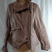 g.i.l.i. Leather Motorcycle Jacket With Zipper Details Size 12 Blush Photo