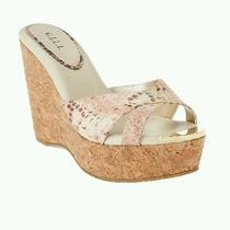 g.i.l.i. Patent Leather Criss Cross Cork Wedge Blush 8.5 Sold Out  Photo