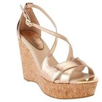 g.i.l.i. Patent Leather Criss-Cross Cork Wedges - Ferrara Rose Gold Size 9 93 Photo