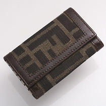 G1456 Authentic Fendi Zucca Canvas & Leather 6-Ring Key Case Photo