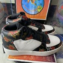 G1680 - Coach Mid Top Leather White Black Floral - Size Mens 8.5 Sneakers Photo