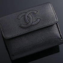 G3547 Authentic Chanel Caviar Skin Genuine Leather Trifold Wallet Junk Photo