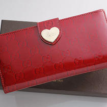 G5055m Authentic Gucci Gg Print Heart Bifold Long Wallet Photo