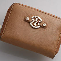 G6797m Authentic Tory Burch Leather & Canvas Coin Case With Key Ring Photo