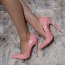 Gabriel Pointy Toe Shiny Faux Patent High Stiletto Heel Slide Pump Pink Blush N Photo