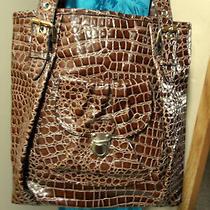 Gal Alligator Look Tote Shoulder Bag Purse Brown Silver Buckle Details Shopper  Photo