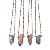 Galaxy Crystal Bullet Stone Short Necklace-Vintage Boho-Rainbow Quartz Jewellery Photo