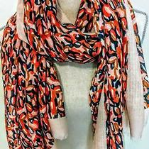 Galeries Lafayette Designed Paris Soft Blush Rosered Abstract Long Fall Scarf Photo