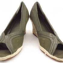 Gap 10 M Womens Shoes Green Suede Leather Peep Toe Wedge Heel  Photo