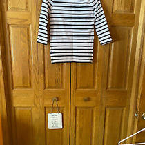 Gap 100% Cotton 3/4 Sleeve Black and White Striped Top With Side Zippers Size Xs Photo