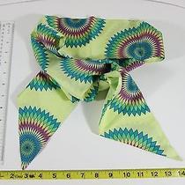 Gap 100% Silk Green Geometric Floral Retro Scarf Women One Size Photo