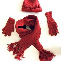 Gap 100% Wool Women Beanie Hat Long Scarf Gloves Red Warm Photo