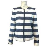 Gap 12 Large Blazer Dressy Jacket Blue Cream Stripe Texture Career Church Photo