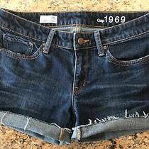 Gap 1969 Always Skinny Jean Shorts Women's Size 28/6r Dark Wash Stretch Cutoffs Photo