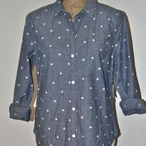 Gap 1969 Chambray Dot Boyfriend Shirt Large Women's Long Sleeve Shirt Nwt  Photo