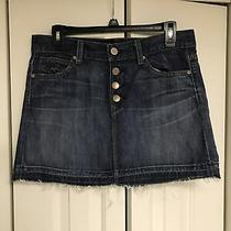 Gap 1969 Denim Button Fly Skirt Frayed Edge Size 27/4 Photo