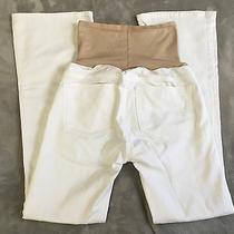 Gap 1969 Maternity Jeans Sexy Bootcut Stretch Size 27/4 White Summer Belly Panel Photo