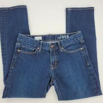 Gap 1969 Real Straight Low Rise Stretch Denim Blue Jeans Size 28s Dark Wash Photo