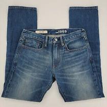 Gap 1969 Slim Straight Heavyweight Denim Blue Jeans Men's Size 29x30 Medium Wash Photo